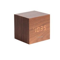 Alarm Clock Mini Cube Mørk Træ Vereen med Hvid Led