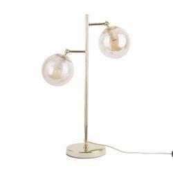 SHIMMER bordlampe i messing- og ravfarve