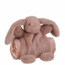 Stor pink kanin bamse med tæppe